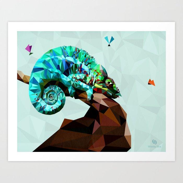 Technicolor Chameleon Art Print