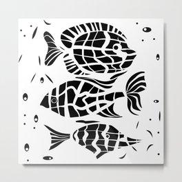 Black and white illustration . Fish . Metal Print