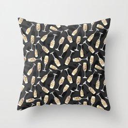 Sparkling Bubbly Flutes Throw Pillow