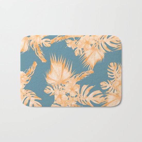 Hawaiian Hibiscus Palm Orange Teal Blue Bath Mat