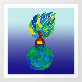 Day dreamer - Background Blue gradient Art Print