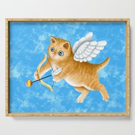 Ginger Cherub Kitten With a Bow and an Arrow Serving Tray