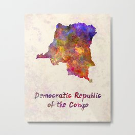 Democratic Republic of the Congo  in watercolor Metal Print