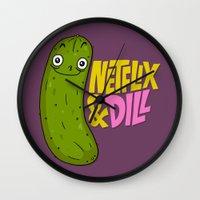 netflix Wall Clocks featuring Netflix & Dill by Chris Piascik
