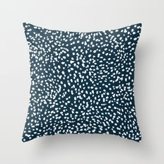 Navy Dots abstract minimal print design pattern brushstrokes painterly painting love boho urban chic Throw Pillow