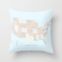 """Map of the USA with states and state capitals, """"Keane"""" Throw Pillow"""