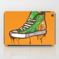 sneaker iPad Cases featuring Green Sneaker by ArievSoeharto