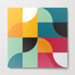Geometric Pattern #31 (yellow red green curves) Metal Print