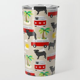 Pug black and white mini van hippie surfing surfer dog breed dog pattern dog art Travel Mug