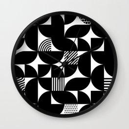 Black Mid Century Bauhaus Semi Circle Pattern Wall Clock
