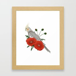 Light Grey/Cinnamon Cockatiel Framed Art Print