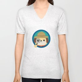Dog detective with magnifying glass Unisex V-Neck