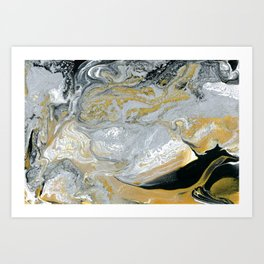 Old Money - Abstract Paintng in Metallic Gold, Silver, and Black Art Print