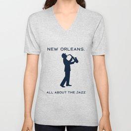 New Orleans Music Festival Jazz Saxophone Musician Design Unisex V-Neck