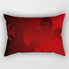 Fleur De Lis Red Holiday Pattern Rectangular Pillow