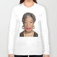 celebrity Long Sleeve T-shirts featuring Celebrity Sunday ~ Maya Angelou by rob art | illustration