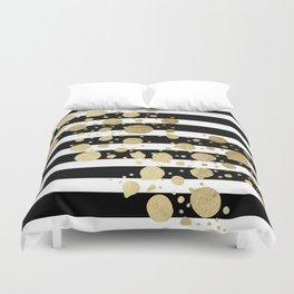 Faux Gold Paint Splatter on Black & White Stripes Duvet Cover