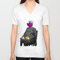 general V-neck T-shirts featuring General Schweinebacke by Marko Köppe