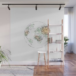 World Map Pink #globe #2 Wall Mural