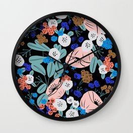 Gouache floral bouquet Wall Clock