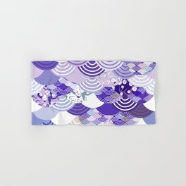 Nature background with japanese sakura flower, Cherry, wave circle. Ultra Violet Color of the Year Hand & Bath Towel