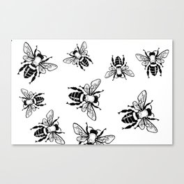 More Black Bees Pattern Vintage Handdrawn Canvas Print