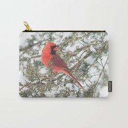 Cardinal on a Snowy Cedar Branch (sq) Carry-All Pouch