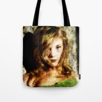thrones Tote Bags featuring Portrait of Natalie Dormer (tutors / game of thrones) by André Joseph Martin