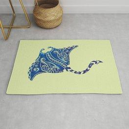 Vintage Blue Hawaiian Watercolor Tribal Ray Rug