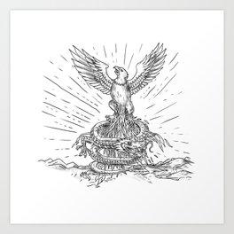 Eagle Rising Like Phoenix and Dragon Tattoo Art Print