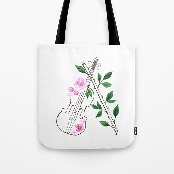 Musical Instrument Violin Watercolor Painting Tote Bag