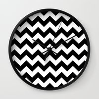 chevron Wall Clocks featuring Chevron (Black/White) by 10813 Apparel