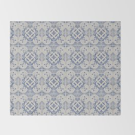 Vintage blue tiles pattern Throw Blanket