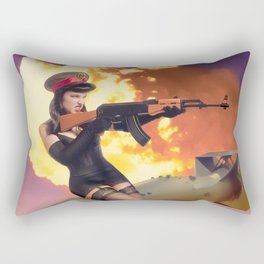 """Sovietsky by Air"" - The Playful Pinup - Missile Russian Pin-up Girl by Maxwell H. Johnson Rectangular Pillow"