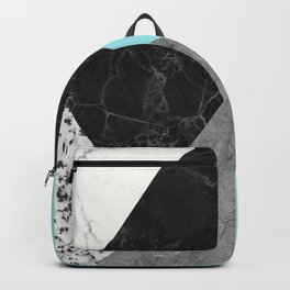 Black and White Marbles and Pantone Island Paradise Color Backpack
