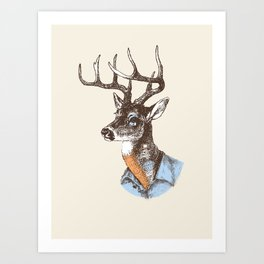 Lucienne the crying deer (with tattoos) Art Print