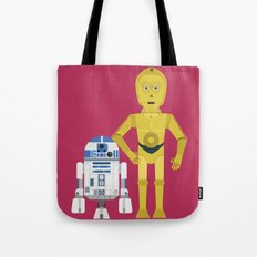 C3P0 and R2D2 vector Tote Bag
