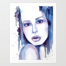 Watercolor - Woman in blue Art Print