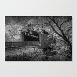 Ada Michigan Covered Bridge on the Thornapple River in Black & White Canvas Print