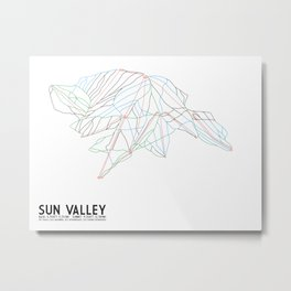 Sun Valley, ID - Minimalist Trail Map Metal Print