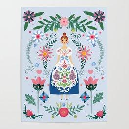 Fairy Tale Folk Art Garden Poster