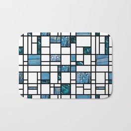 Modern Art Blue Denim Drops and Cracked Bath Mat