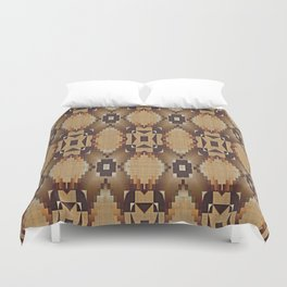 Khaki Tan Orange Dark Brown Native American Indian Mosaic Pattern Duvet Cover