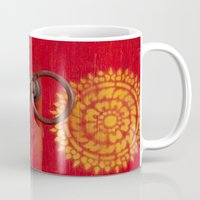 buddhism Mugs featuring Temple Door by Maria Heyens