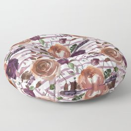 Vivid Plum and Orange Blossom with Feathers on White with Soft Purple Stripes  Floor Pillow
