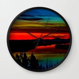 Deep Marshland Sunset Wall Clock