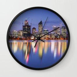 Skyline of Perth, Australia across the Swan River at night Wall Clock