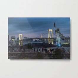 Statue of liberty and Rainbow bridge of Tokyo, Japan. Metal Print