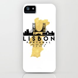 LISBON PORTUGAL SILHOUETTE SKYLINE MAP ART iPhone Case