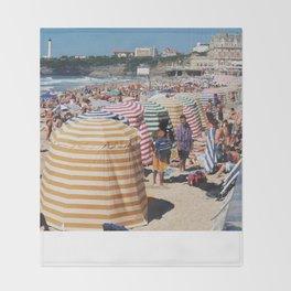 Biarritz Beach Tents Throw Blanket